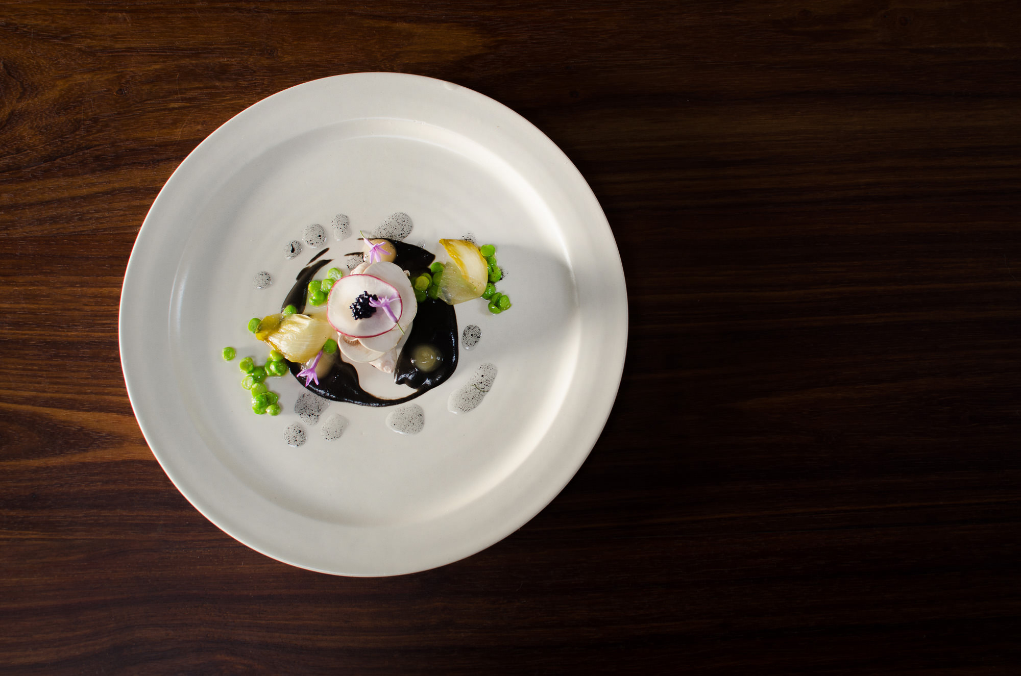 SEA BASS | Mushrooms, kohlrabi, lime, Nero and radish